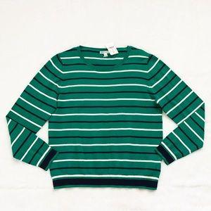 NWT J. Crew Green Peyton Mixed-Stripe Sweater